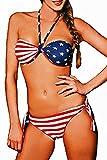 Maillot de bain femme 2 pièces bikini bandeau réversible Drapeau américain taille M