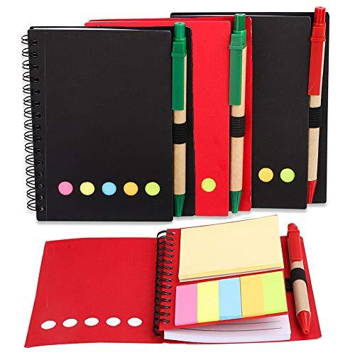 Cuaderno Espiral Forrado Pack de 4 Bloc de Notas Espiral Libreta Perfecto...