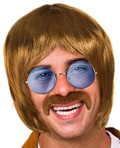 BALINCO Set Hippy con Parrucca + Occhiali da Sole Rotondi con Lenti Blu + Baffi in Stile Anni '60 e '70 per Uomini e Donne a Carnevale o Festival