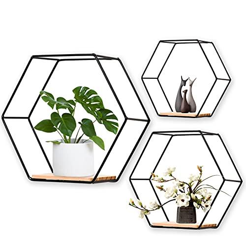 Juego de 3 estantes de pared hexagonales de metal, decorativos, estantería de pared para salón, dormitorio, baño, cafetería y hotel