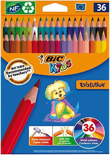 BIC Kids Evolution ECOlutions Coloring Pencils - Assorted colors, 36 Blister units