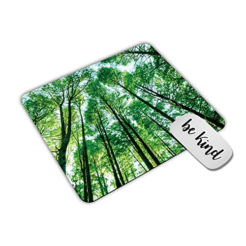 Dikoer Green Forest Trees Mouse Pad for Laptops Office Computer Decor, Cute Gaming Mousepad with Design, Non Slip Rubber Mouse Mat and Be King Sticker