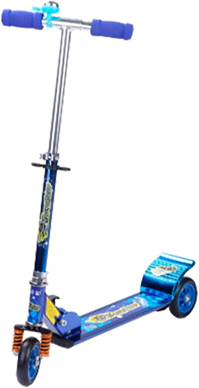 Zhijie-chezi Kinder Roller 3 Runde Baby Roller Kinder Groe Kinder Swing Roller Flash Rad Mit Dmpfung Faltbar (Farbe   Blau)
