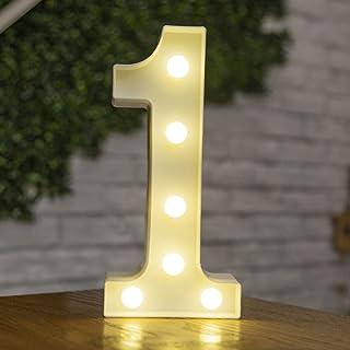 DIY 3Dアルファベット文字ライトLEDナイトライト、26アルファベット0-9数字マーキーサインナイトランプホームパーティーバーウェディングフェスティバル誕生日装飾ギフト。 文字 1 22.5CM