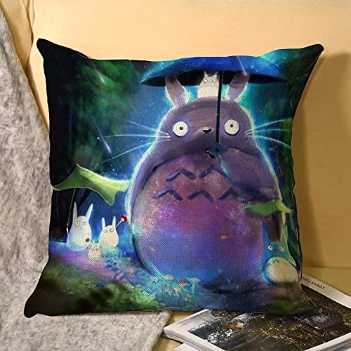 My Neighbor Totoro - Fundas de cojín decorativas cuadradas con cremallera invisible para sofá, dormitorio, salón, 45 x 45 cm