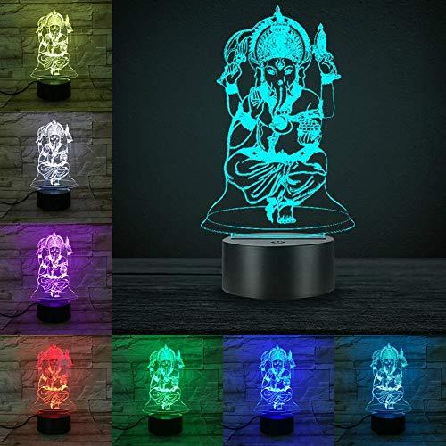India Ganesha 3D-lamp touch afstandsbediening schakelaar 7 of kleurverandering glasvezel lamp Bea Home Desk Decoratie Indiase mythos