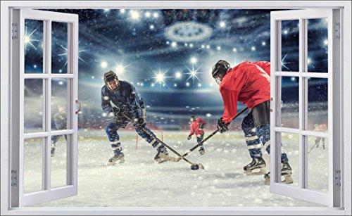 DesFoli Eishockey 3D Look Wandtattoo 70 x 115 cm Wanddurchbruch Wandbild Sticker Aufkleber F622