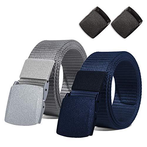 ITIEZY Nylon Herren Guertel Sportarten Wasserdichte Gürtel Outdoor Military Belt Verstellbare Gurtband YKK Kunststoff Schnalle 125cm, 2 PCS