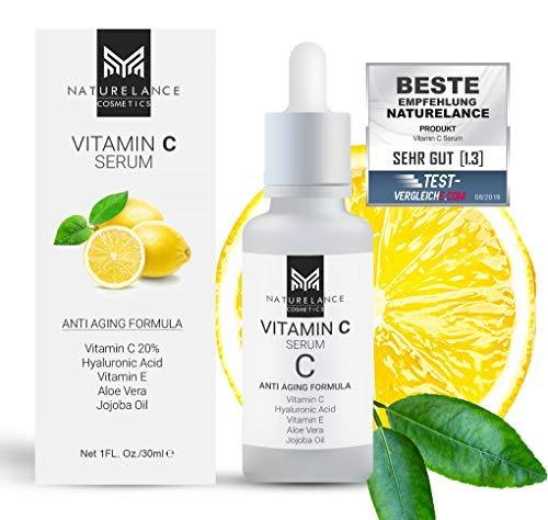 """NATURELANCE Vitamin C Serum\""""Vergleichssieger\"""" Bio, Vegan, hochdosiert mit Hyaluronsäure Anti-Aging, Aloe Vera, Vitamin E, Anti Falten Feuchtigkeitspflege Gesicht & Haut"""
