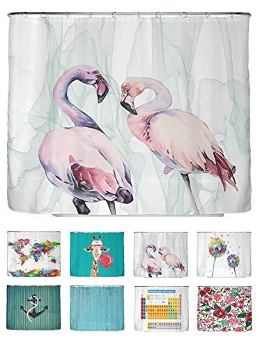 arteneur® - Loving Flamingos - Anti-Schimmel Duschvorhang 240x200 - Beschwerter Saum, Blickdicht, Wasserdicht, Waschbar, 12 Ringe und E-Book mit Reinigungs-Tipps