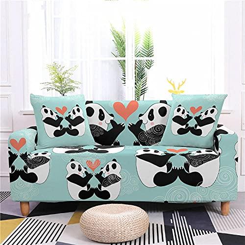 Funda Sofa 4 Plazas Chaise Longue Panda Verde Fundas para Sofa Universal,Cubre Sofa Ajustables,Fundas Sofa Elasticas,Funda de Sofa Chaise Longue,Protector Cubierta para Sofá