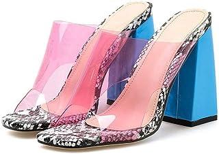 Cosplay-X Women's Clear Heeled Peep Toe Slip On Mule Dress Shoe Snakeskin Pattern for Wedding Party