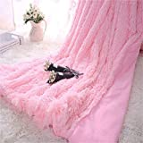 Kaihong, coperta in microfibra e pelliccia sintetica, leggera, soffice, per divano o letto, 130 x 160 cm, colore: bianco, Poliestere, Rosa, 130 x 160
