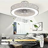 Ventilador de techo LED moderno con luz de techo regulable con ventilador silencioso Control remoto y APP y temporizador Velocidad del viento ajustable Lámpara de ventilador de techo invisible Ø55cm