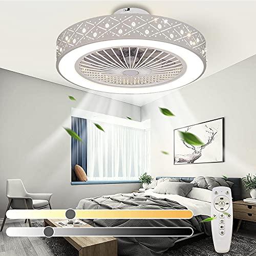 Ventilatore da soffitto moderno a LED con luce Ventilatore silenzioso dimmerabile con timer remoto 3 Ventilatore da soffitto invisibile con velocità del vento per soggiorno Camera da letto Cucina