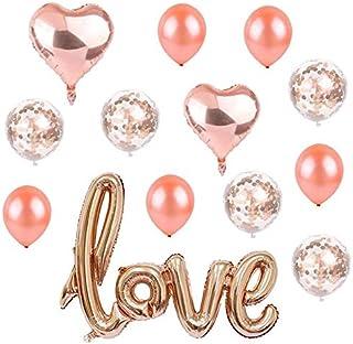 13 قطعة من بالونات الزينون اللاتيكس رقائق رومانسية من الذهب الوردي، بالونات كبيرة الحب الأخر، بالونات زينة للحفلات