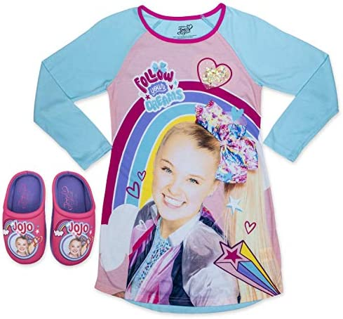 JoJo Siwa Long Sleeves Sleepwear Dorm with Slippers Set 100 Polyester Turqouise Size 7 8 product image