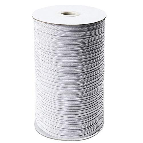 3mm x 180m Gummiband Weiß, 200 Yards Flach Hochwertig Elastikband, Elastisch Band Dehnbar Elastische Schnur Zum Nähen,Stricken,Hosenbund und Arts & Basteln