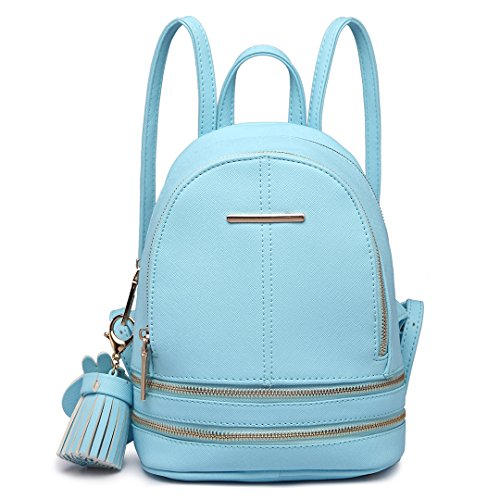 Miss Lulu Zaino Donna Moda Borsa a Tracolla Piccolo Casual in Pelle PU Backpack per ragazze (Blu)