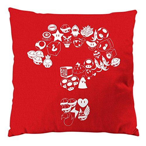 A.N.T. Another Nerd T-Shirt A.N.T. Mario Items Cuscino con Imbottitura e Fodera in Cotone, Circa 28 x 28 cm Videogioco Console Super World, Colore:Rosso