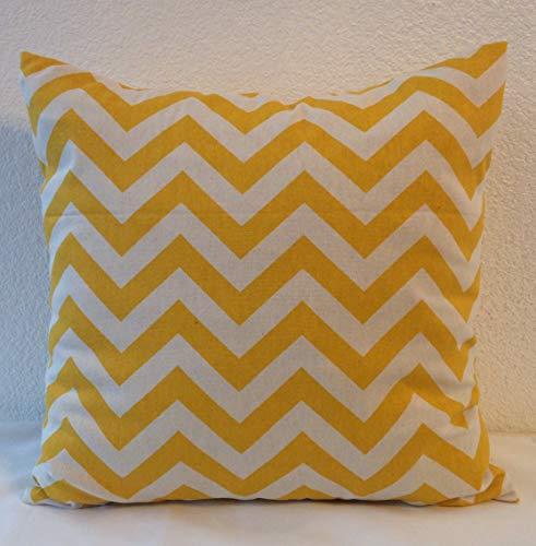Funda de almohada individual sin marca, 18 x 18 pulgadas, envío gratis de Estados Unidos, impresiones Premier Zig Zag en color amarillo maíz.