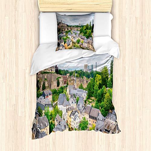 ABAKUHAUS Landschap Dekbedovertrekset, Oude Stad Luxemburg, Decoratieve 2-delige Bedset met 1 siersloop, 135 cm x 200 cm, Veelkleurig