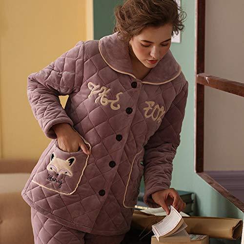 TDYSDYN Pijamas Mujer Algodón Invierno 2 Piezas,Pijama de Invierno de Tres Capas Acolchado y de Terciopelo para Mujer, 6602_XL,Ropa de salón de vellón Suave para Mujer