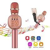 Beschoi Karaoke Micro sans Fil 4 en 1 Microphone Bluetooth 4.2 LED Lumière Disco avec Support Telephone Compatible avec Apple/Android/Smartphone/PC/iphone/iPad pour Adult et Enfant Or Rose Noël