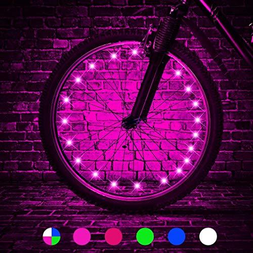 HUGEE Luce per Ruota Bici - Decorazione di Raggi per Ruote di Biciclette,Illuminazione Luci per Catene di Ruote Impermeabili,Visibili da Ogni Angolazione,Applicare Durante la Guida di Notte (Rosa)
