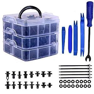 Remaches Plastico Clips de coche y clip de remache de guardabarros de plástico sujetador, 16 tamaños Kit de remaches de empuje automático más popula 655pcs