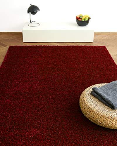 Tapis Moderne Colors Rouge/Bordeaux 160x230cm - Tapis Shaggy Longues mèches au Prix Super Bas