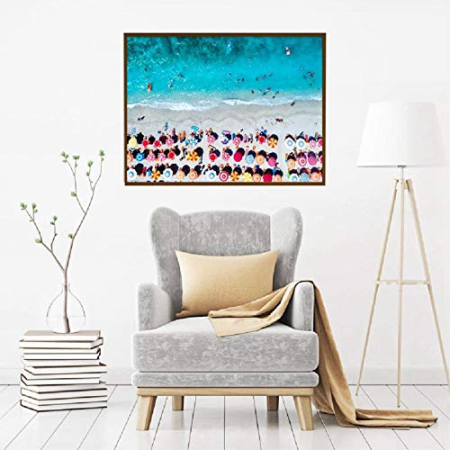 ORISIMP Sombrillas fotografía aérea de Playa Lienzo Arte Impreso Cartel Playa Paisaje Pintura Cuadro de Pared para Sala de Estar decoración del hogar-40X60cm sin Marco