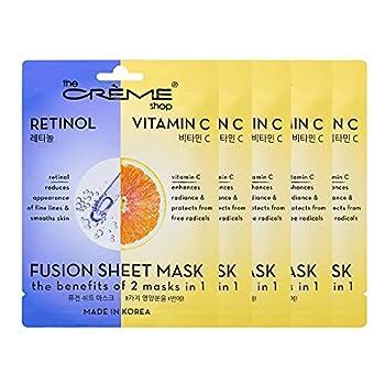The Crème Shop Retinol & Vitamin C Fusion Sheet Mask Korean Sheet Mask Anti-Aging Face Mask Brightens and Plumps Skin Vitamin C Sheet Mask with Hyaluronic Acid and Retinol 5 Pack