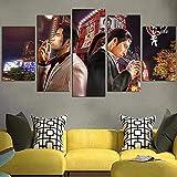 QWASD Yakuza Goro Majima Y Kazuma Kiryu5 Piezas Cuadros Lienzo Decoracion Salon Modernos De Pared Papel Pintado Murales Pintura Póster Fotos Regalo