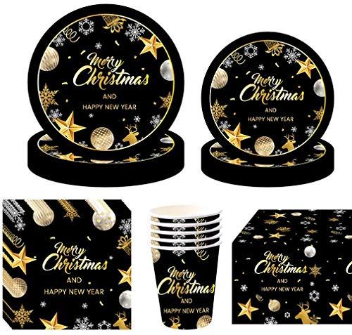 Amycute 81 Pezzi Natale Decorazioni Tavola, Feste di Natale Piatti, Bicchieri, Tovaglioli e Tovaglia, Stoviglie USA e Getta per Feste di Natale (Stile 1)