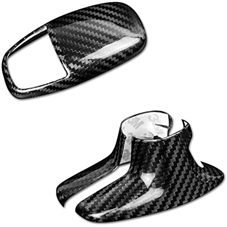 2 Pieces Gear Shift Knob Cover ABS Carbon Fiber Look Cover Trim Kit Compatible with 2015-2020 Dodge Challenger Charger