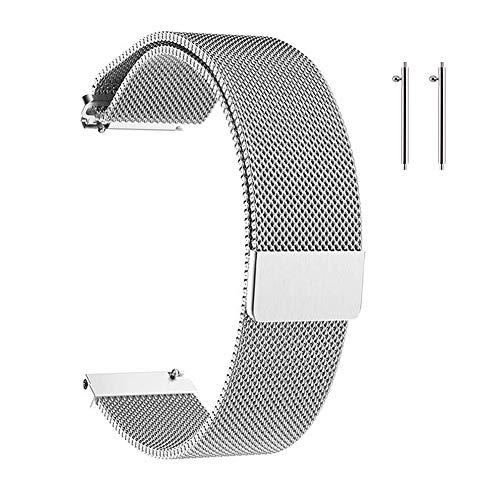 Correa de Reloj Metal,Correa de Reloj Magnética para Hombres y Mujeres para Reloj Inteligente y Reloj Tradicional 16mm/18mm/20mm/22mm Plateado/Negro
