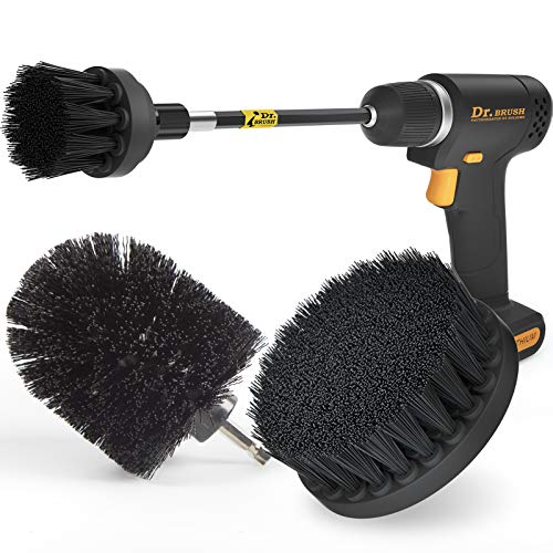 Holikme 4Pack Drill Brush Power Scrubber Cleaning Brush Extended Long Attachment Set All Purpose Drill Scrub Brushes Kit