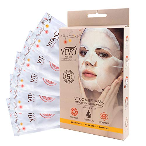 Vitamin C Sheet Mask - Vitamin C Sheet Mask for Anti Aging - Mask with Collagen - Vitamin C Mask For Healthy Skin from Vivo Per Lei (1 Pack)