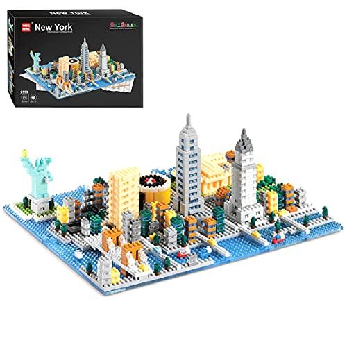 SENG Bloques de construcción modular con base, 1531 piezas, técnica de sujeción, diseño creativo de Nueva York Street