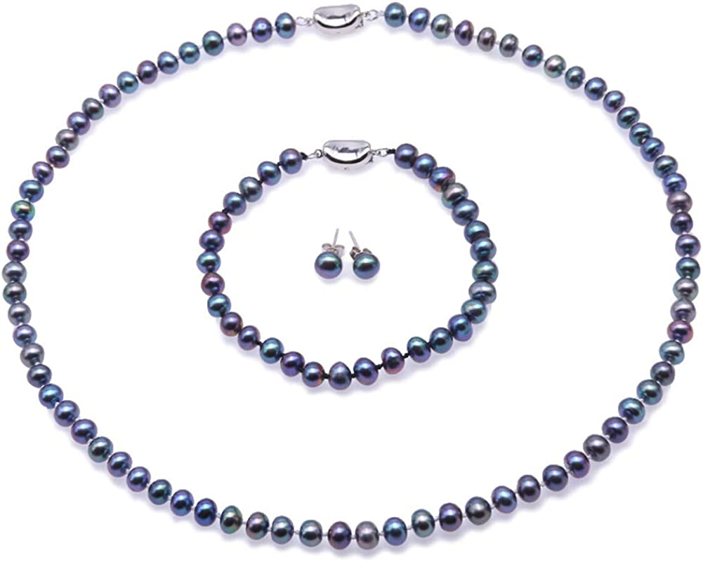 JYX Pearl Necklace Earring Set 6-7mm Freshwater Cultured Blue Pearl Necklace Bracelet and Earrings Set for Women