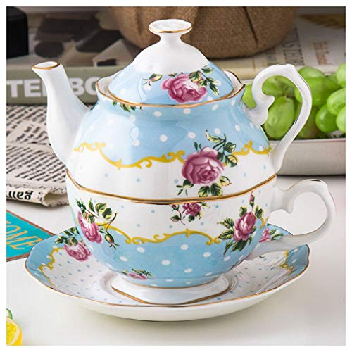 FABAX Tetera Cerámica de té de cerámica Tetera Floral for una Tetera y la Taza con la Tapa del Ministerio del Interior Tetera roja Teteras (Color : Blue, tamaño : 3PCS)