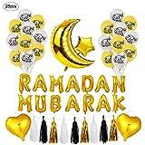 TLM Toys Juego de globos Eid Mubarak, juego de globos Ramadan, decoración de globos, con lentejuelas, Eid Mubarak, decoración del alfabeto, accesorios de fiesta para musulmanes.