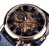 Forsining Retro Golden 3D Roman Number Transparent Men Mechanical Skeleton Watch Luxury Openwork
