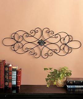 Black Scrolled Metal Wall Art Medallion Plaque – Oblong Living Room Home Decoration..