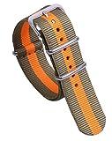20mm Verde/Naranja Super Suave de la NATO Correas de Reloj de Estilo de Lona de Nylon Mirada de Muy Buen Gusto de los Hombres Correas de reemplazo