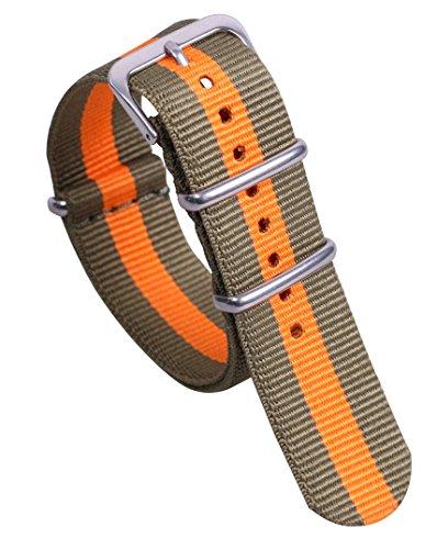 20 millimetri verde/arancio super soft cinturini per orologi stile di nylon...