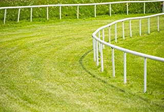 Baocicco 9x6ft Horse Racing Yard Backdrop Vinyl Photography Background Horse Race Track Railing Green Grass Field Children Kids Adults Portrait Photo Studio