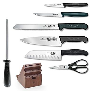 Victorinox Fibrox Professional 13 Piece Cutlery Set With Swivel Knife Block & Tablet Recipe Holder