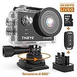 ThiEYE Action Cam T5 PRO Diretta Streaming 4K 60fps WiFi 20MP Rotazione 360° Grandangolare 170° 8...